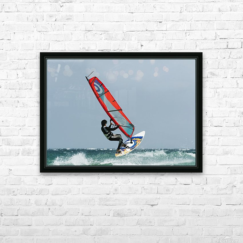 A Windsurfer In The Water; Tarifa, Cadiz, Andalusia, Spain HD Sublimation Metal print with Decorating Float Frame (BOX)
