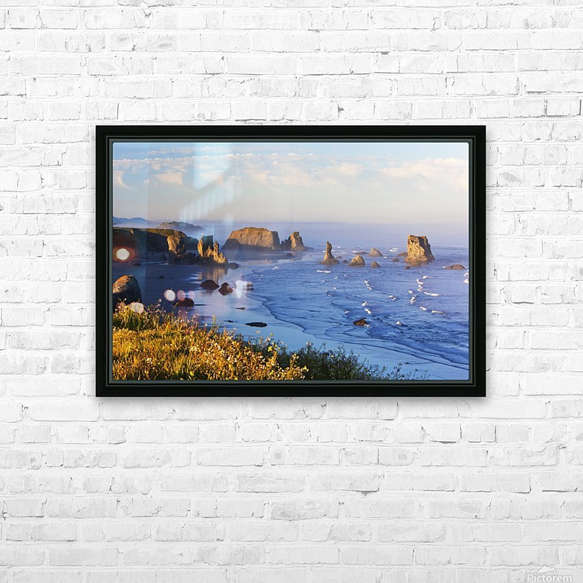 Fog Covers Rock Formations Along The Coast At Bandon State Park; Bandon, Oregon, United States of America HD Sublimation Metal print with Decorating Float Frame (BOX)
