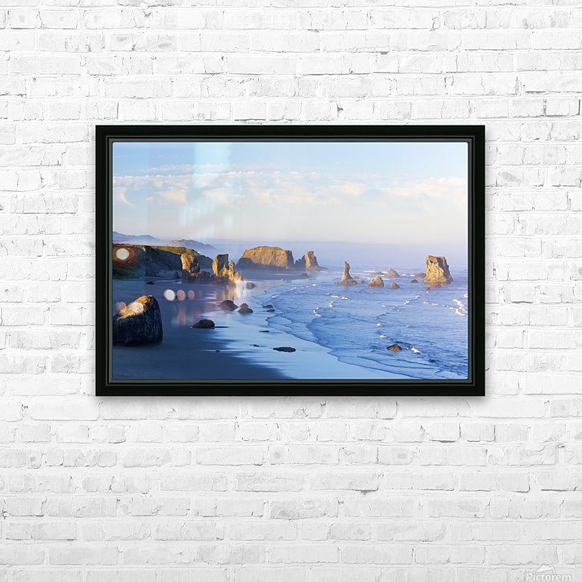 Morning Light Adds Beauty To Fog Covered Rock Formations At Bandon State Park; Bandon, Oregon, United States of America HD Sublimation Metal print with Decorating Float Frame (BOX)