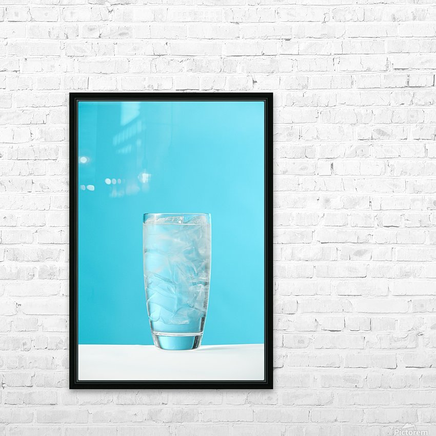 Very Full Glass Of Water With Ice HD Sublimation Metal print with Decorating Float Frame (BOX)