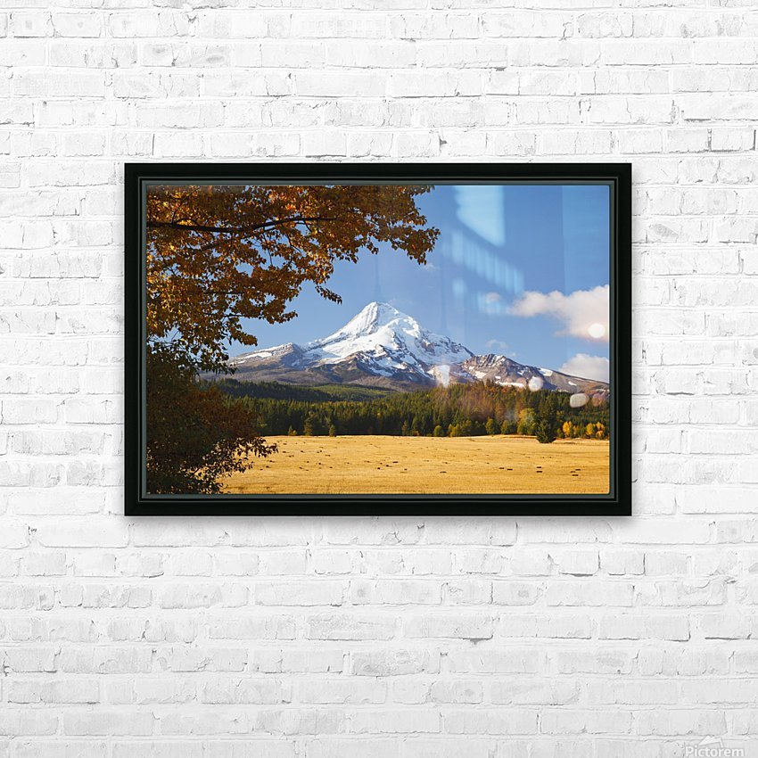 Mount Hood And Autumn Colours In Hood River Valley; Oregon, United States of America HD Sublimation Metal print with Decorating Float Frame (BOX)