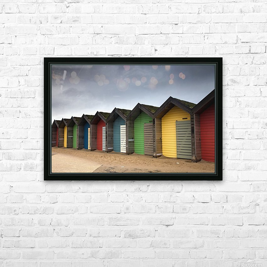 Colourful Beach Huts; Blythe, Northumberland, England HD Sublimation Metal print with Decorating Float Frame (BOX)