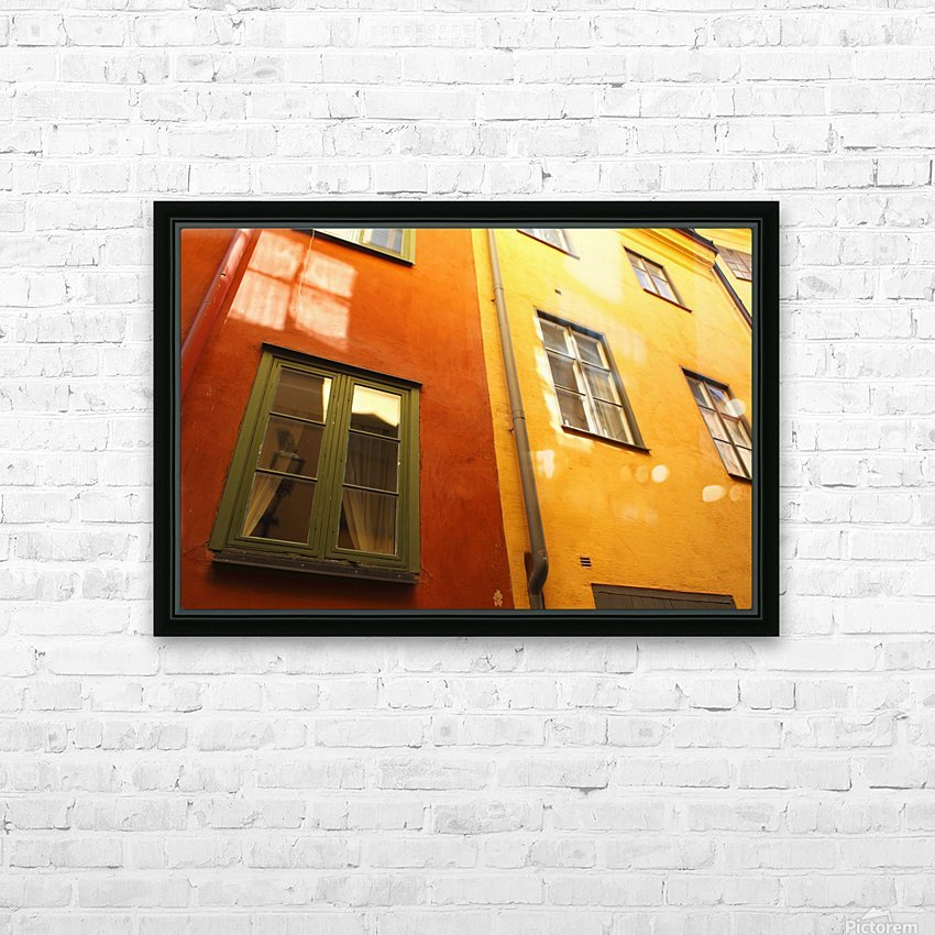 Low Angle View Of Red And Yellow Painted Buildings; Stockholm, Sweden HD Sublimation Metal print with Decorating Float Frame (BOX)