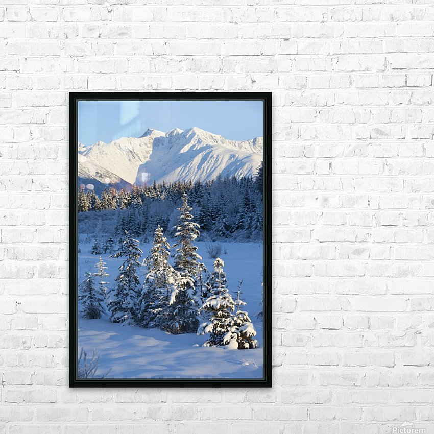 Scenic View Of Chugach Mountains And Snowcovered Landscape, Southcentral Alaska, Winter HD Sublimation Metal print with Decorating Float Frame (BOX)