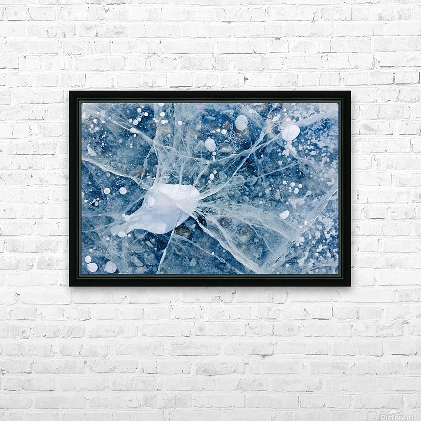 Close Up Of Cracks In The Ice Of Nenana River Near Denali National Park, Southcentral Alaska, Winter HD Sublimation Metal print with Decorating Float Frame (BOX)