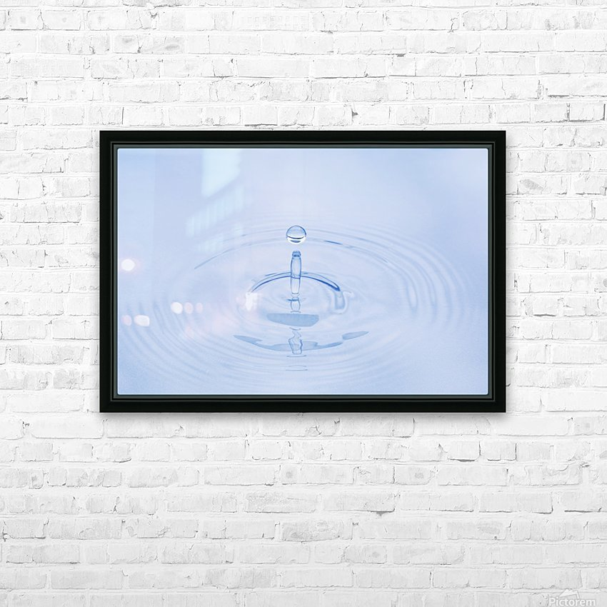 Close Up Of Water Droplet Hitting The Surface Of Water Alaska HD Sublimation Metal print with Decorating Float Frame (BOX)