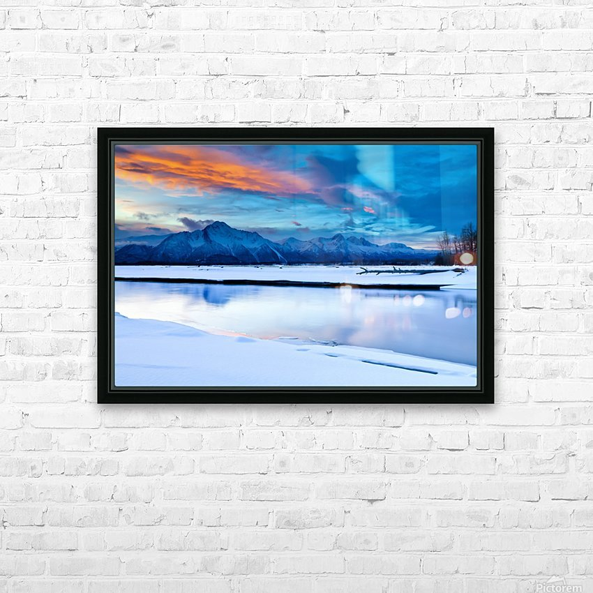 Scenic View At The Eklutna Tailrace Off The Old Glenn Highway In The Matanuska-Susitna Valley, Southcentral Alaska, Hdr HD Sublimation Metal print with Decorating Float Frame (BOX)