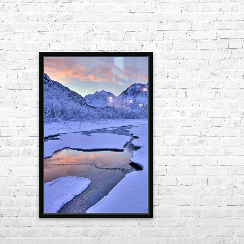 Colorful Sunrise Over A Stream At The Eagle River Nature Center In Chugach State Park, Southcentral Alaska, Winter, Hdr HD Sublimation Metal print with Decorating Float Frame (BOX)