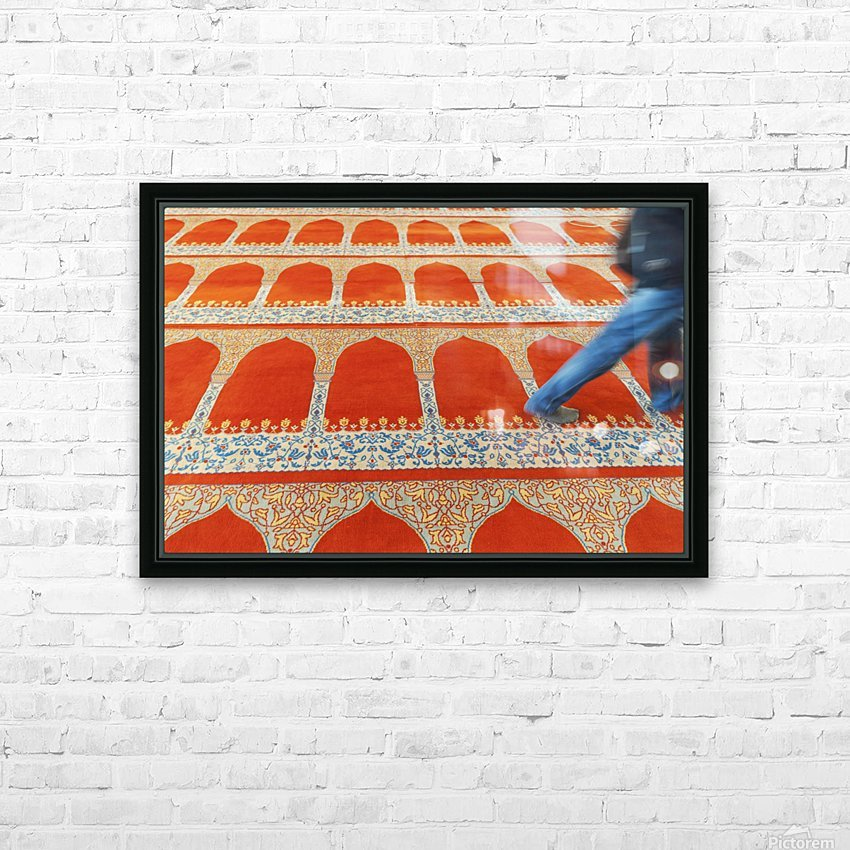 A person walking over the colourful carpet in the suleymaniye mosque;Istanbul turkey HD Sublimation Metal print with Decorating Float Frame (BOX)