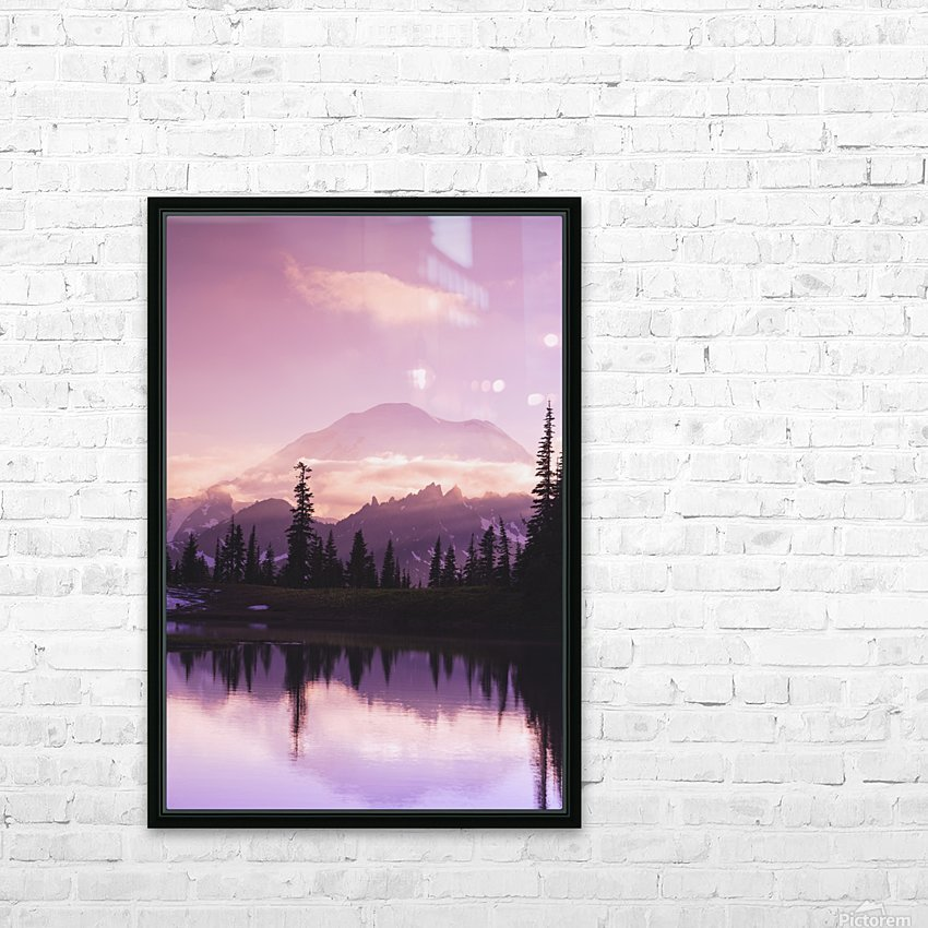 Sunset and a small reflecting pond near tipsoo lake mt. rainer national park near seattle;Washington united states of america HD Sublimation Metal print with Decorating Float Frame (BOX)