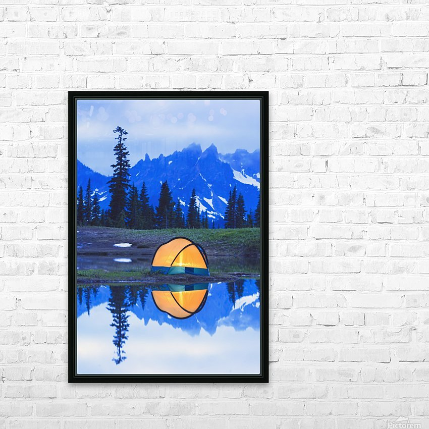 Camping tent at sunset small reflecting pond near tipsoo lake mount rainer national park near seattle;Washington united states of america HD Sublimation Metal print with Decorating Float Frame (BOX)
