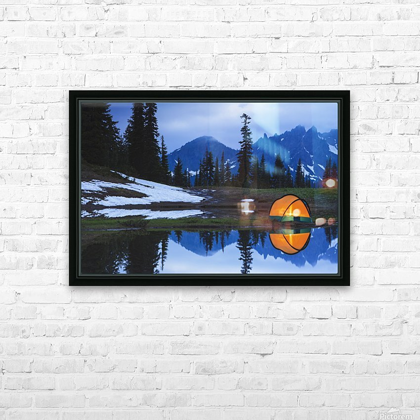 Camping tent at sunset by a small reflecting pond near tipsoo lake mount rainer national park near seattle;Washington united states of america HD Sublimation Metal print with Decorating Float Frame (BOX)