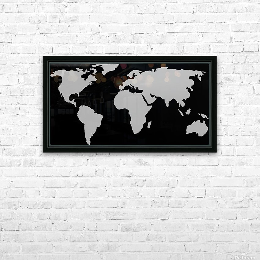 World Map Grey Style HD Sublimation Metal print with Decorating Float Frame (BOX)
