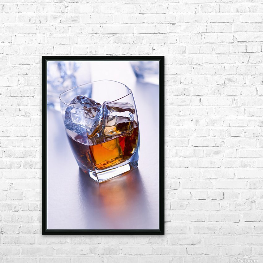 Glass of whiskey HD Sublimation Metal print with Decorating Float Frame (BOX)