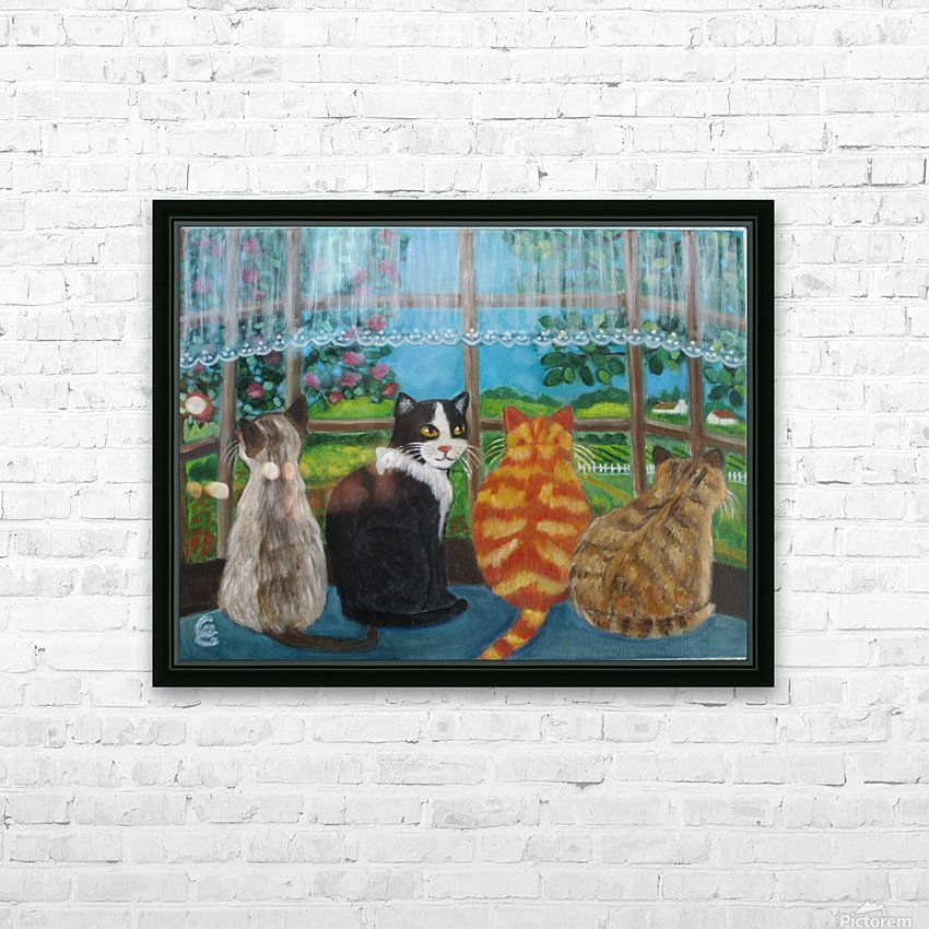 cats in window HD Sublimation Metal print with Decorating Float Frame (BOX)