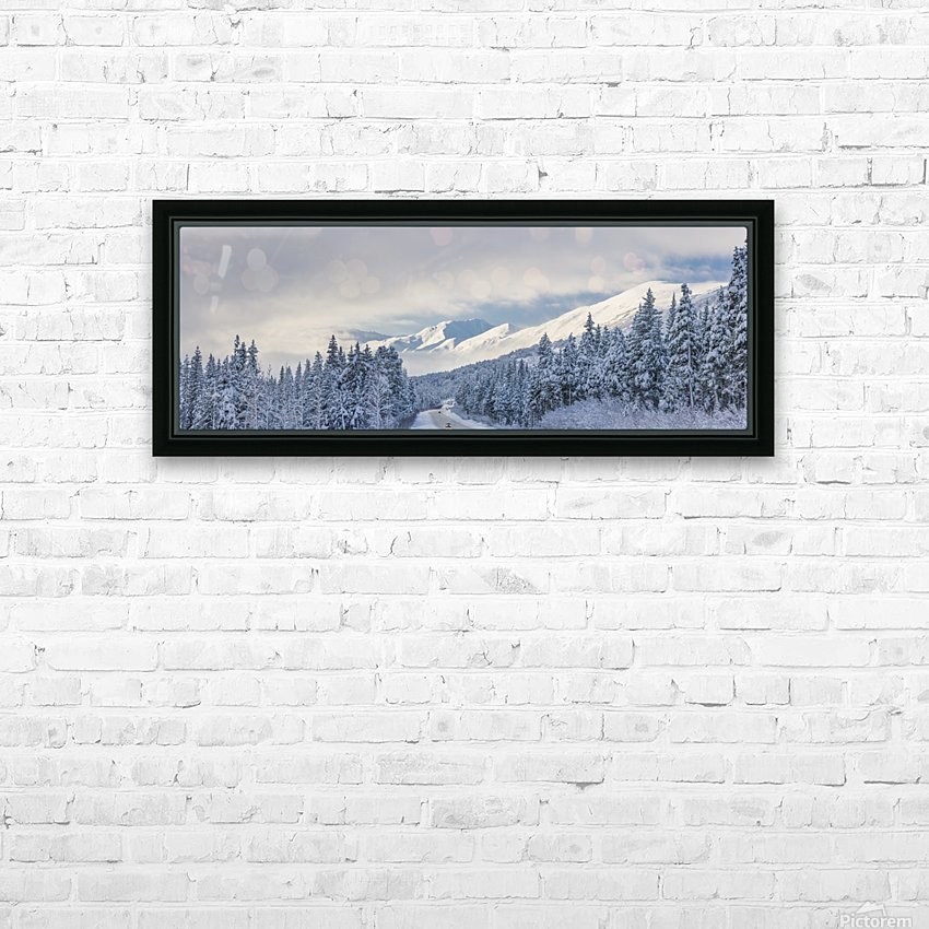 Clouds Clearing Over Seward Highway From The Kenai Mountains Above Turnagain Pass After A Winter Snow Storm, Fresh Snow In The Trees, Early Morning Sun, Turnagain Pass, Chugach National Forest, Southcentral Alaska, Usa. HD Sublimation Metal print with Decorating Float Frame (BOX)