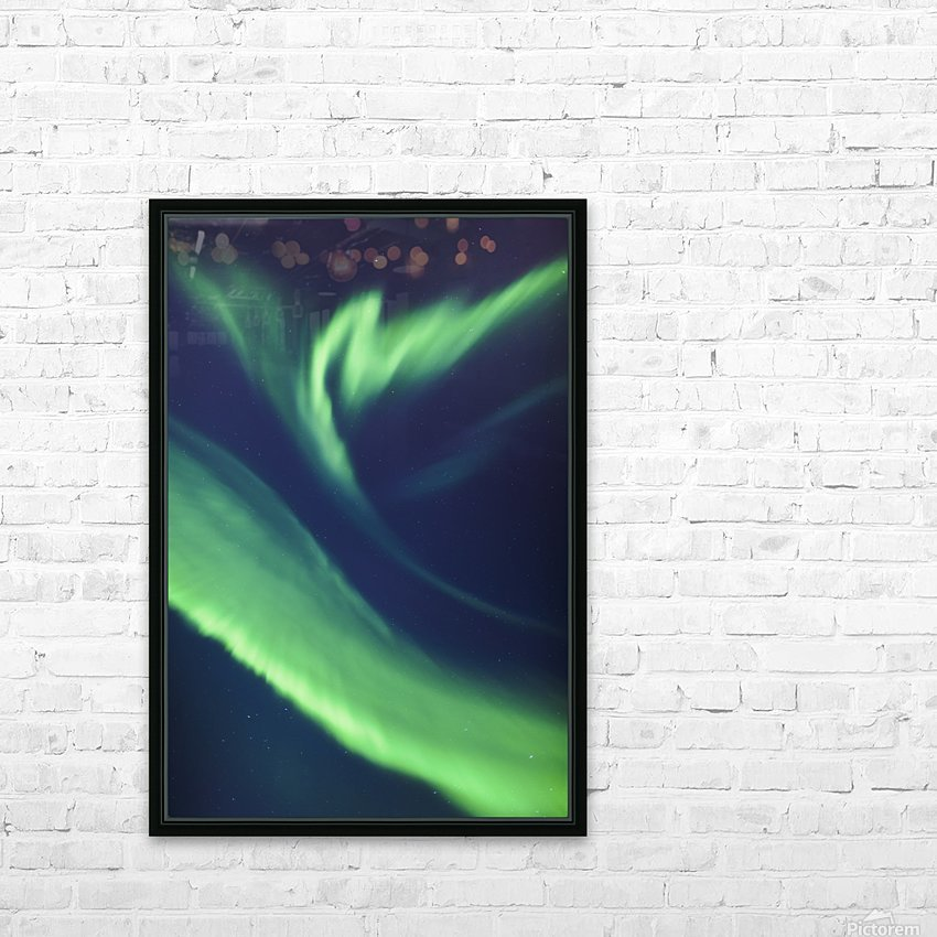 A green northern lights corona in the sky above the tony knowles coastal trail in winter;Anchorage alaska united states of america HD Sublimation Metal print with Decorating Float Frame (BOX)