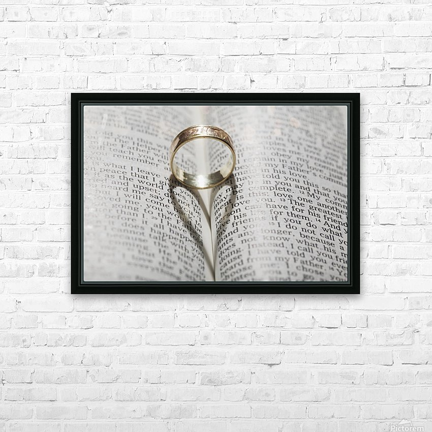 Close up of a gold ring with the shadow of an heart on book about love;Calgary Alberta Canada HD Sublimation Metal print with Decorating Float Frame (BOX)