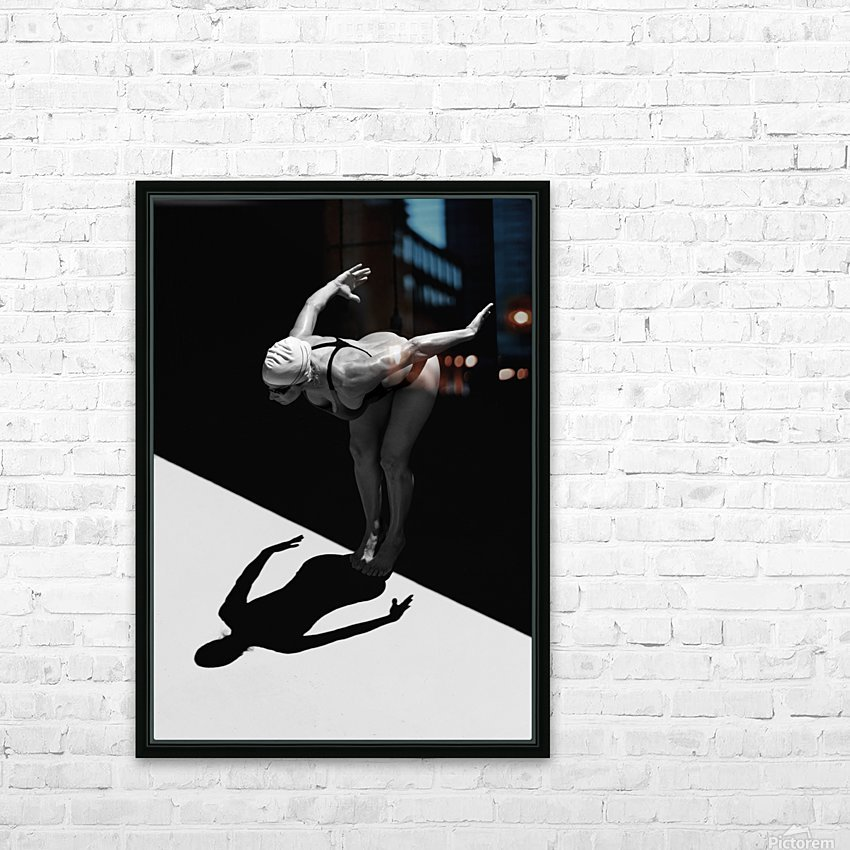 A Woman Prepares To Jump Backwards Off The Edge Of A Pool Into The Water; Tarifa, Cadiz, Andalusia, Spain HD Sublimation Metal print with Decorating Float Frame (BOX)