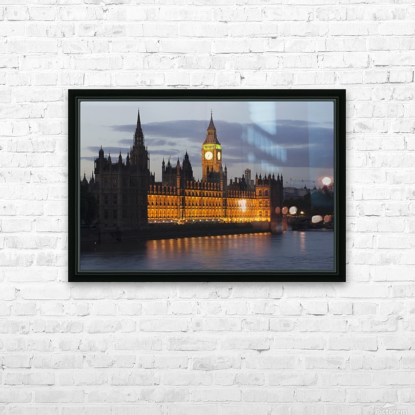 A Building And Clock Tower Along The Water's Edge Illuminated At Dusk; London, England HD Sublimation Metal print with Decorating Float Frame (BOX)