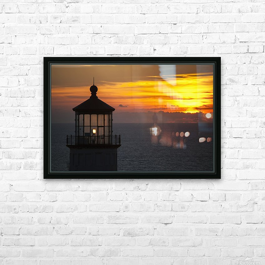 A sunset at North Head Lighthouse; Ilwaco, Washington, United States of America HD Sublimation Metal print with Decorating Float Frame (BOX)
