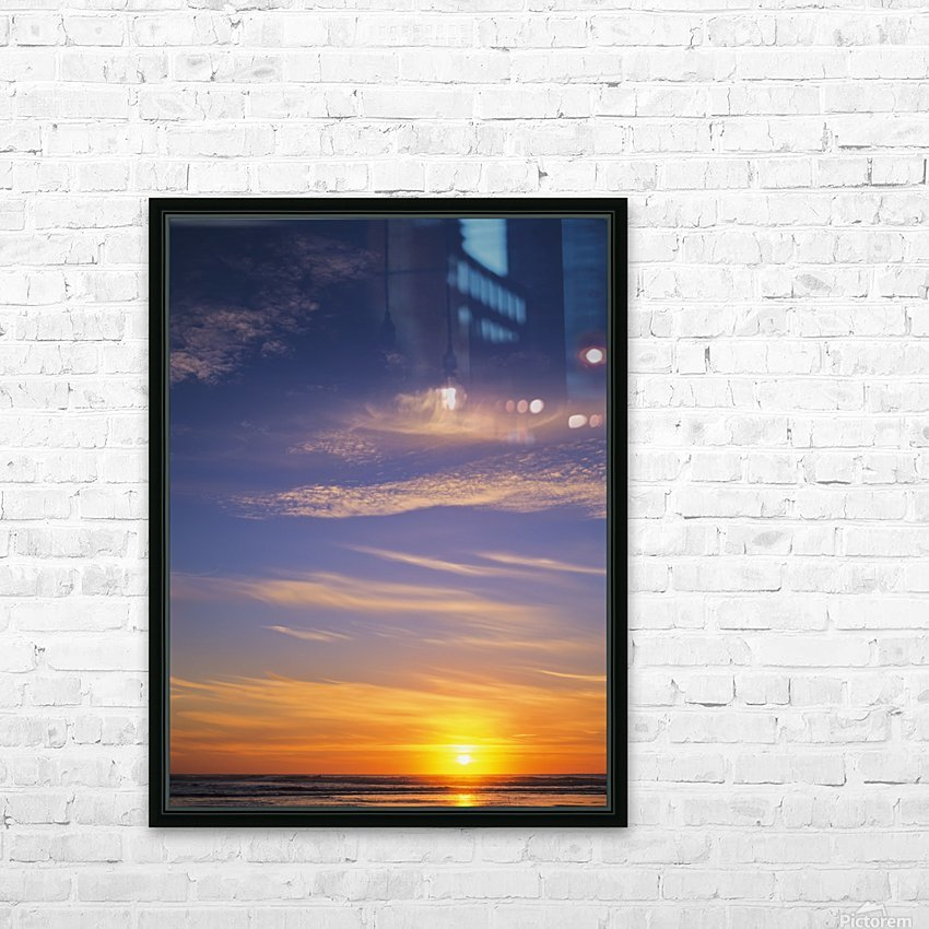 The sun sets at Umpqua Beach; Winchester Bay, Oregon, United States of America HD Sublimation Metal print with Decorating Float Frame (BOX)