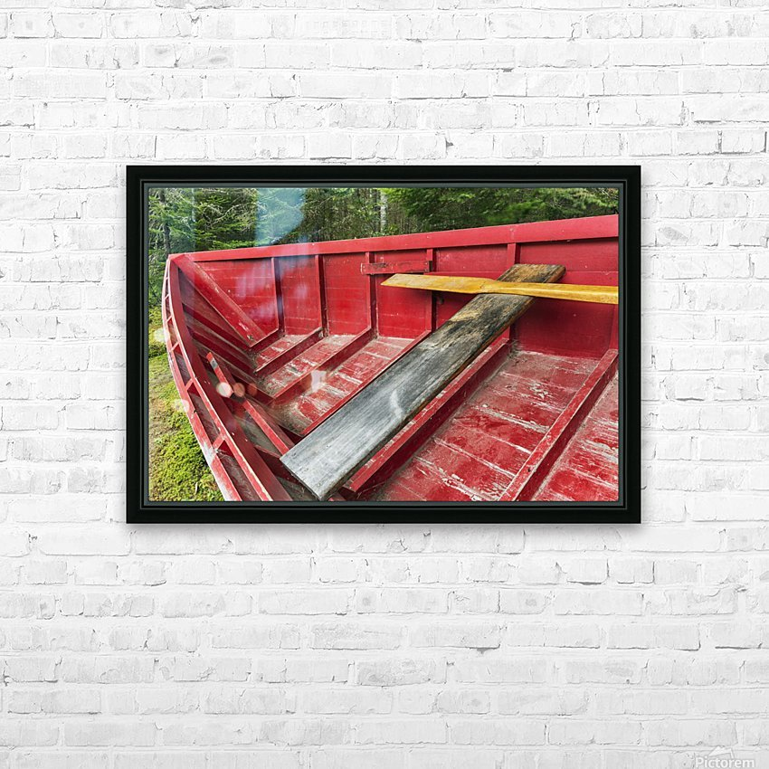 A 'Pointer' row boat designed in the mid 19th century for log driving, Algonquin Logging Museum, Algonquin Provincial Park; Ontario, Canada HD Sublimation Metal print with Decorating Float Frame (BOX)
