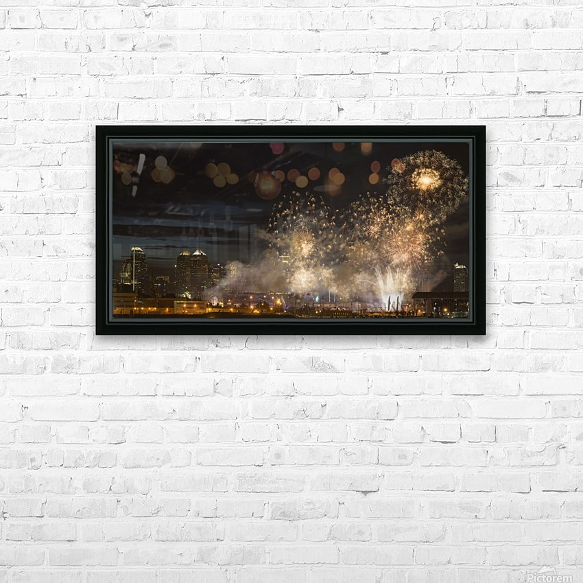 Fireworks in front of modern city skyline; Calgary, Alberta, Canada HD Sublimation Metal print with Decorating Float Frame (BOX)