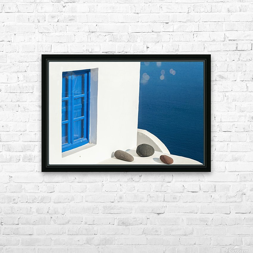 Whitewash building with blue trimmed window along the Aegean sea; Oia, Santorini, Greece HD Sublimation Metal print with Decorating Float Frame (BOX)