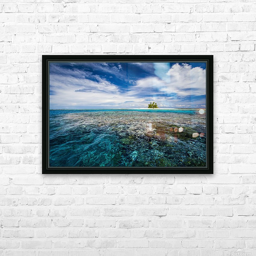 An island that forms part of the marine park, near the Tuvalu mainland; Tuvalu HD Sublimation Metal print with Decorating Float Frame (BOX)