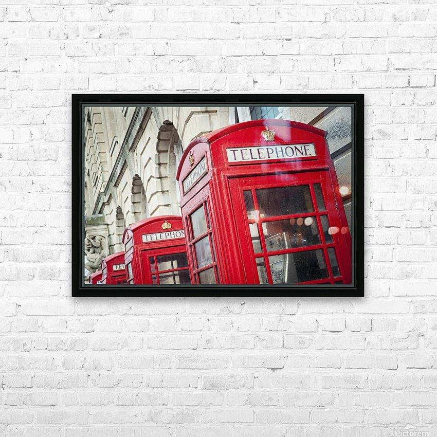 Telephone boxes in a row; Blackpool, Lancashire, England HD sublimation métal imprimé avec décoration flotteur cadre (boîte)