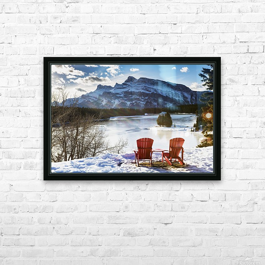Two red chairs on snow covered ridge overlooking frozen lake with snow covered mountain in the background with blue sky and clouds; Banff, Alberta, Canada HD Sublimation Metal print with Decorating Float Frame (BOX)