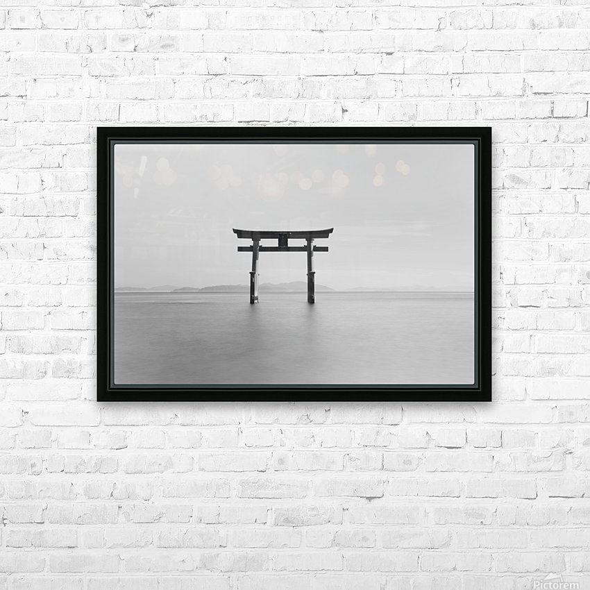 Black and white image of a floating shrine on a lake; Takashiyama, Shiga, Japan HD Sublimation Metal print with Decorating Float Frame (BOX)
