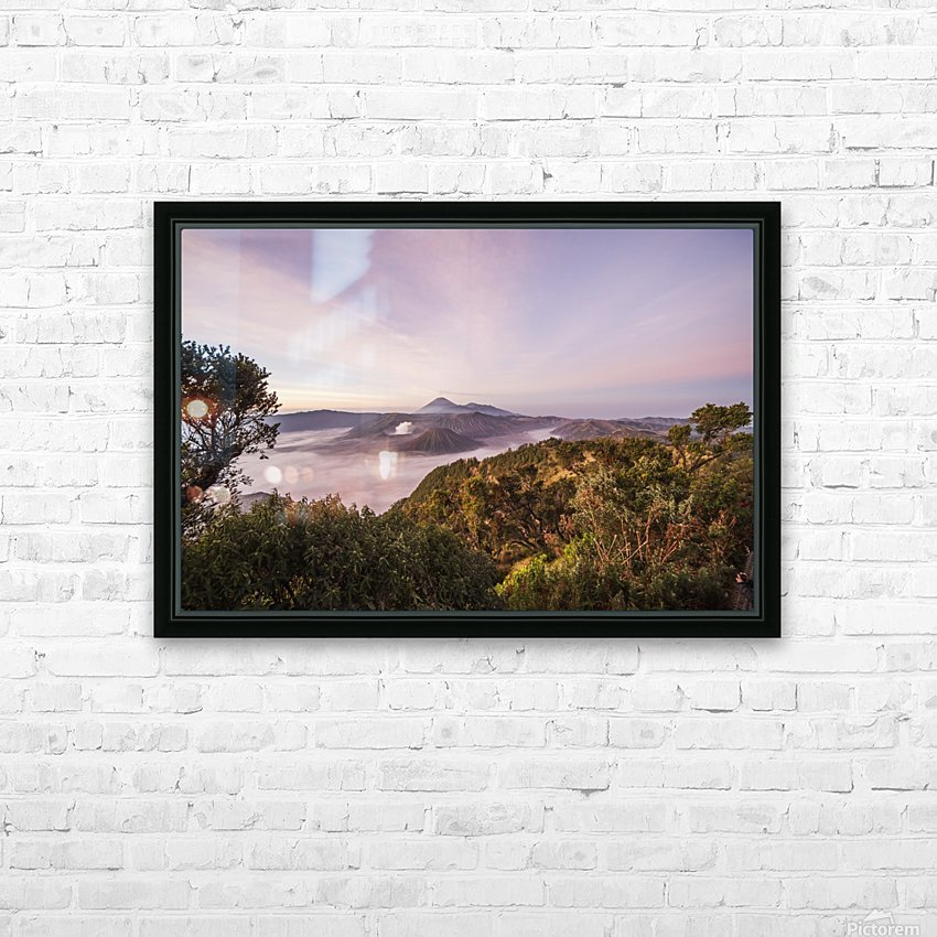 Tengger Caldera with steaming Mount Bromo, Mount Batok and Mount Semeru in the background, seen from the western viewpoint at dawn, Bromo Tengger Semeru National Park, East Java, Indonesia HD Sublimation Metal print with Decorating Float Frame (BOX)