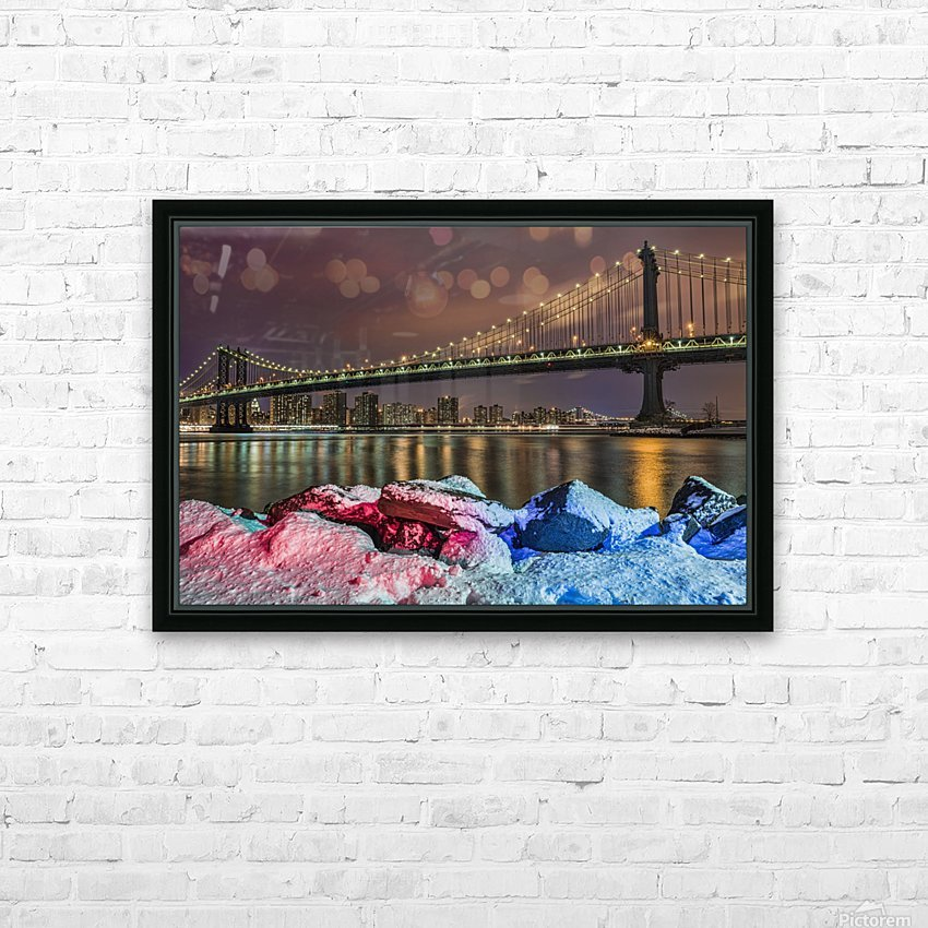 Manhattan Bridge by snow-covered rocks at sunset, Brooklyn Bridge Park; Brooklyn, New York, United States of America HD Sublimation Metal print with Decorating Float Frame (BOX)