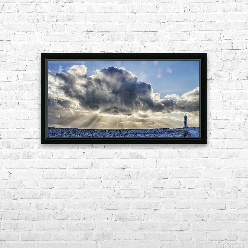 Rays of light shine out from behind the clouds in the skies above a lightnouse along the southern shore of Iceland; Iceland HD Sublimation Metal print with Decorating Float Frame (BOX)