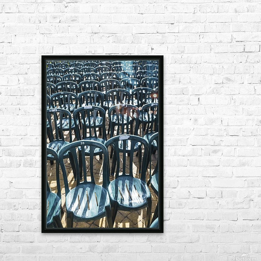 Plastic green chairs lined up in rows; Malaga Province, Andalusia, Spain HD Sublimation Metal print with Decorating Float Frame (BOX)