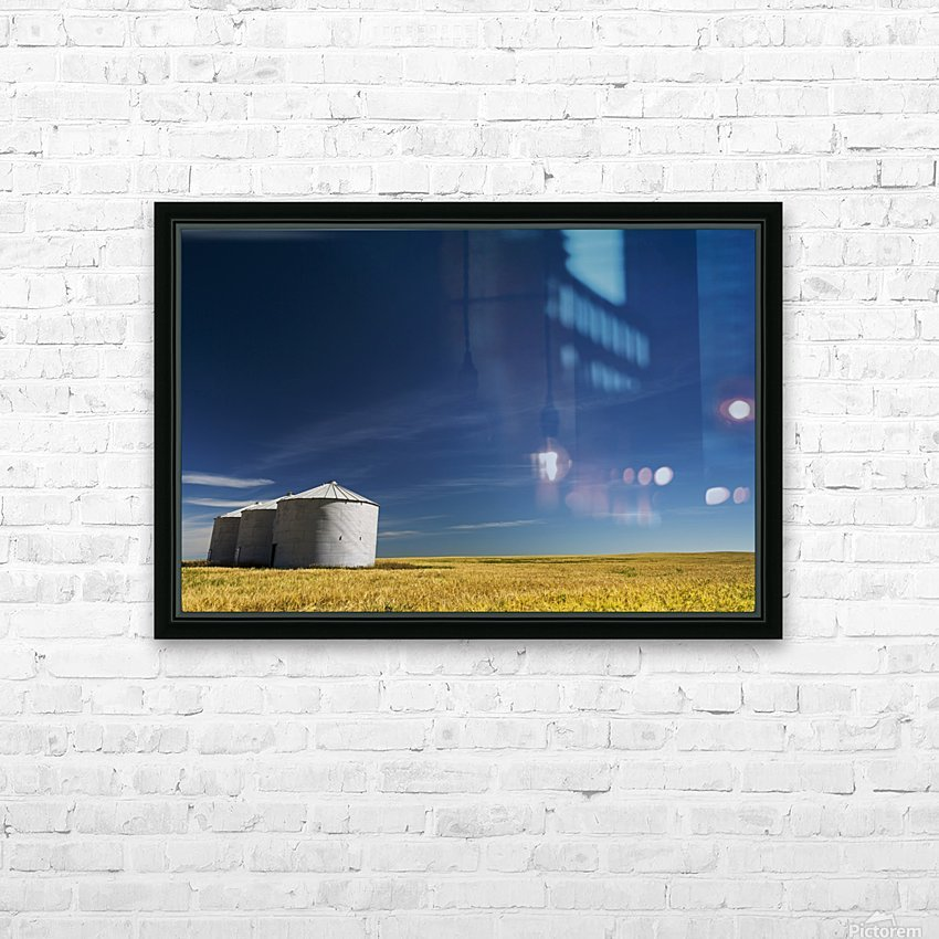 Large metal grain bins in a barley field with blue sky and wispy clouds; Acme, Alberta, Canada HD Sublimation Metal print with Decorating Float Frame (BOX)