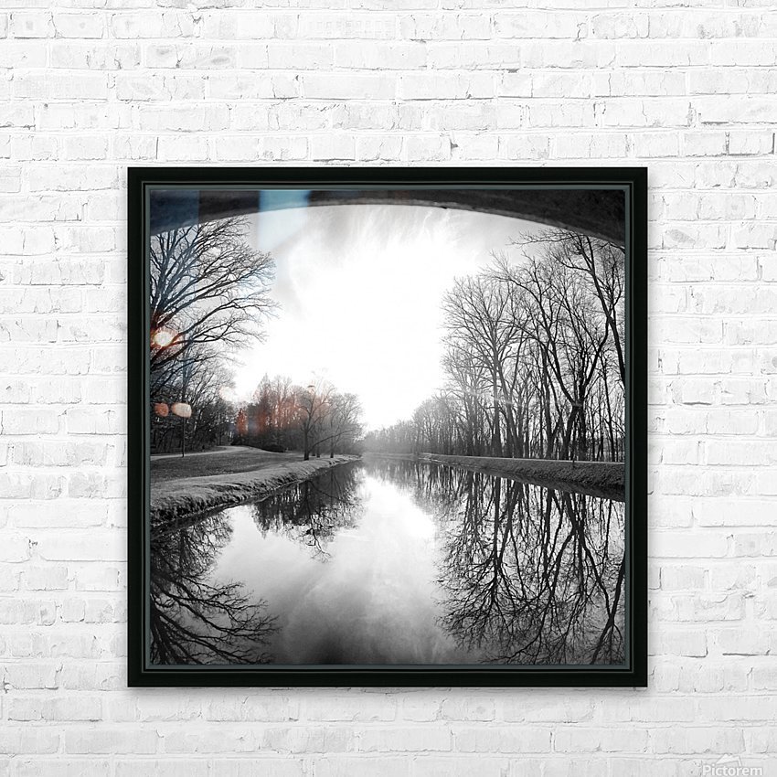 The Canal, Black and White HD Sublimation Metal print with Decorating Float Frame (BOX)