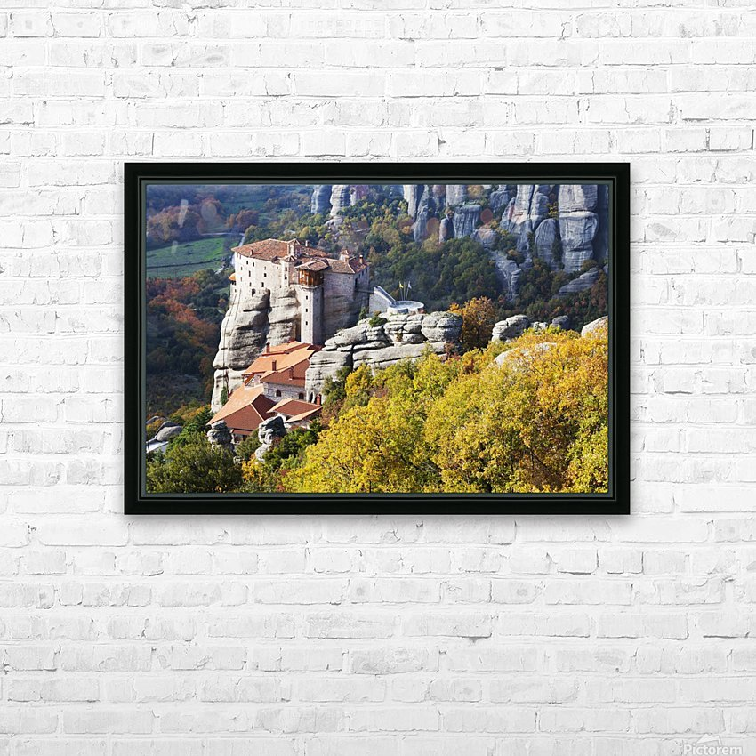 Monastery on a cliff; Meteora, Greece HD Sublimation Metal print with Decorating Float Frame (BOX)