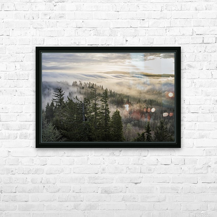 Fog and forest seen from Coxcomb Hill; Astoria, Oregon, United States of America HD Sublimation Metal print with Decorating Float Frame (BOX)