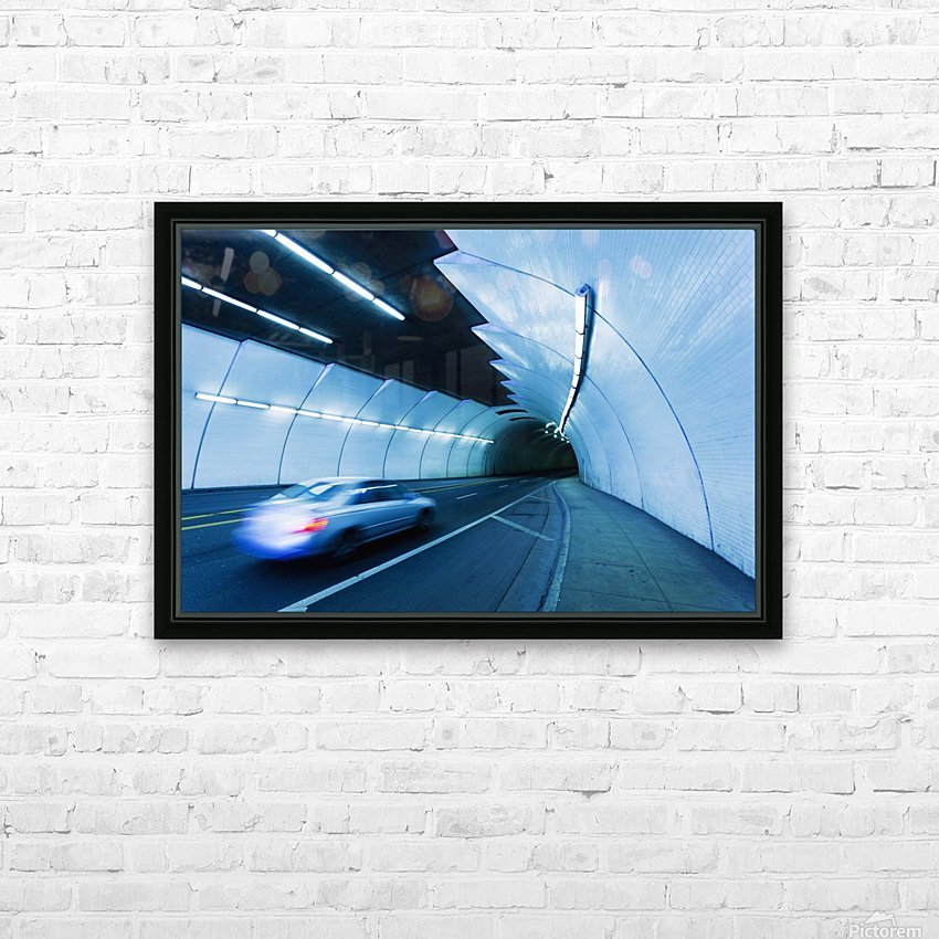 Urban Tunnel, Car moving with Motion Blur HD Sublimation Metal print with Decorating Float Frame (BOX)