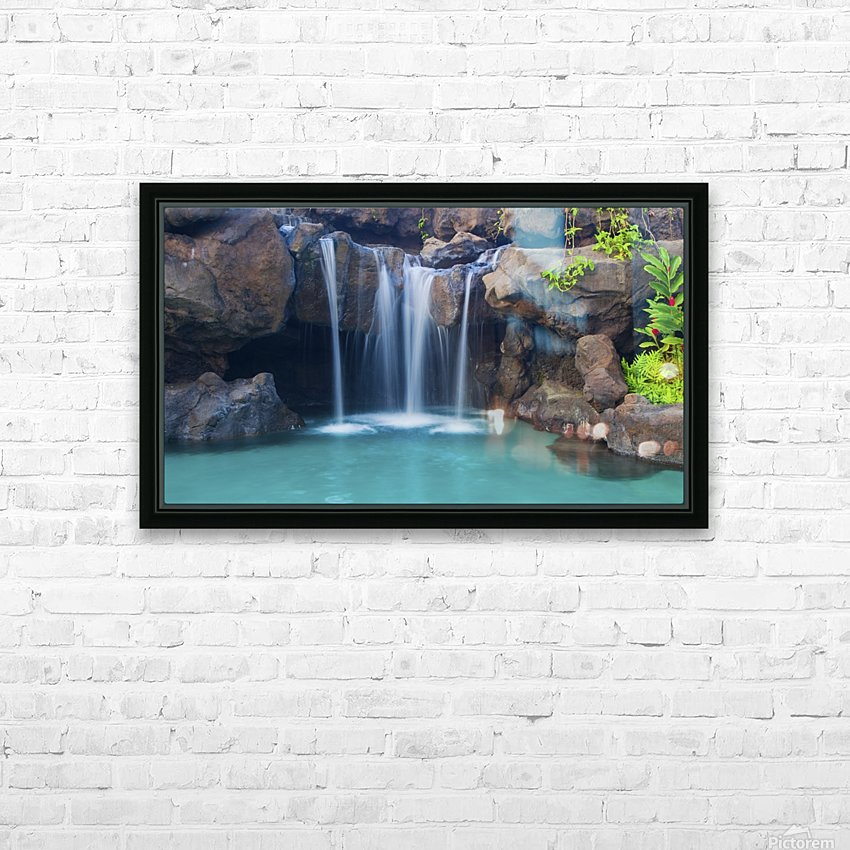 Waterfall into Resort Pool HD Sublimation Metal print with Decorating Float Frame (BOX)