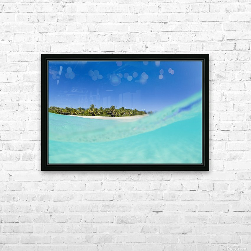 Tropical Island, Blue Sky and Beautiful Ocean HD Sublimation Metal print with Decorating Float Frame (BOX)