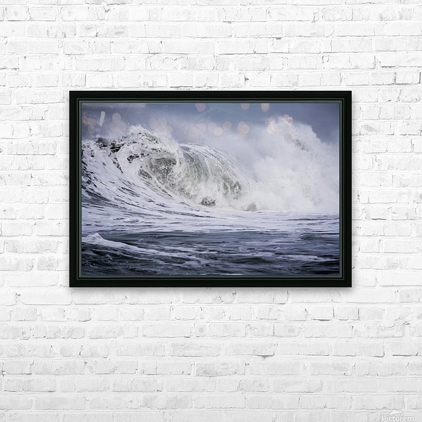A large wave breaks on a stormy morning; Seaside, Oregon, United States of America HD Sublimation Metal print with Decorating Float Frame (BOX)