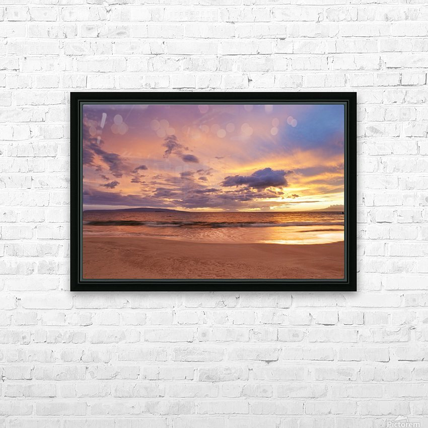 Sunset on Hawaii Beach HD Sublimation Metal print with Decorating Float Frame (BOX)