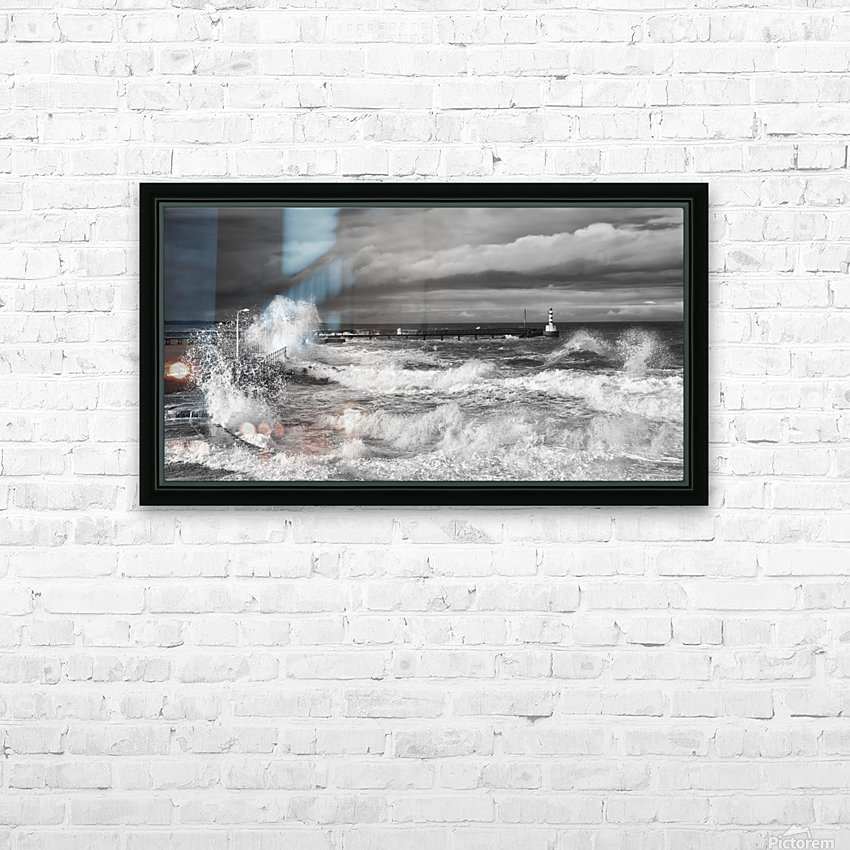 Waves crashing along the coast with a small lighthouse at the end of a pier; Amble, Northumberland, England HD Sublimation Metal print with Decorating Float Frame (BOX)