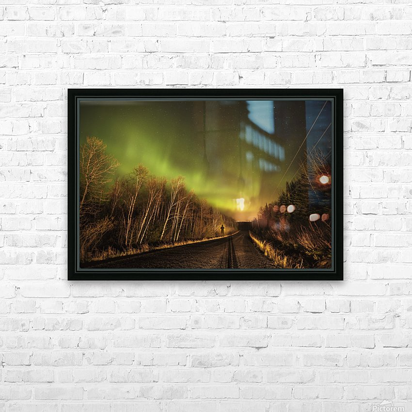 Aurora borealis over road; Thunder Bay, Ontario, Canada HD Sublimation Metal print with Decorating Float Frame (BOX)
