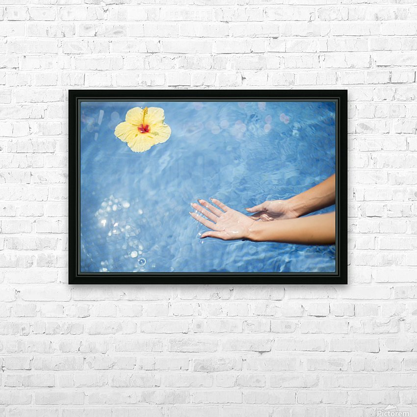 Dipping hands in the water with a floating flower; Island of Hawaii, Hawaii, United States of America HD Sublimation Metal print with Decorating Float Frame (BOX)