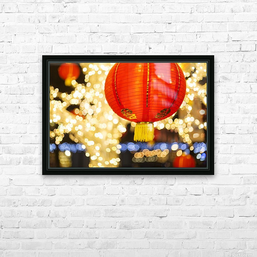 Red and gold Chinese lantern with sparkling white lights in the background, Granville Island; Vancouver, British Columbia, Canada HD Sublimation Metal print with Decorating Float Frame (BOX)